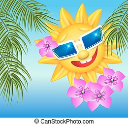 Smiling sun in glasses with palm branches