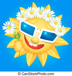 Smiling sun in glasses and chaplet - Smiling shines sun in...