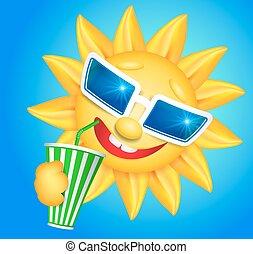 Fun sun drinking cool drink