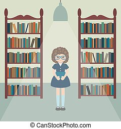Funny girl in a library - Illustration of a girl with a book...