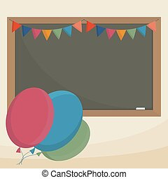 School board decorated with flags and balloons Simple flat...