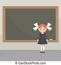 Schoolgirl near the school board - Schoolgirl in a classroom...