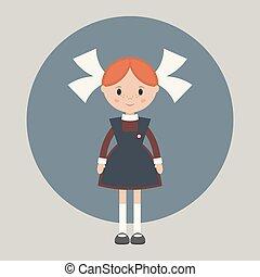 Soviet schoolgirl in school uniform Simple flat vector
