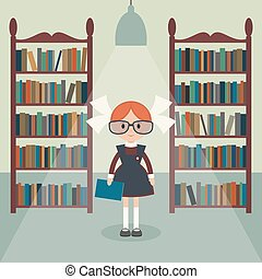 Soviet cartoon schoolgirl in library Soviet schoolgirl in...