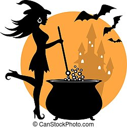 beautiful witch and cauldron - beautiful witch prevents...