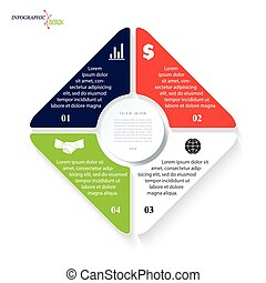 Vector template infographic for business project or presentation with four segments can be used for web design, workflow or graphic layout, diagram, education