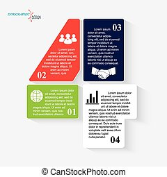 Number 4 business project or presentation with segments. Vector illustration can be used for web design,  work flow or graphic layout, diagram, education