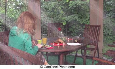 girl eat dinner gazebo