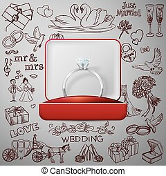 Hand drawn collection of decorative wedding design elements with rings