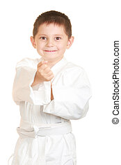 Funny karate kid punches with right fists