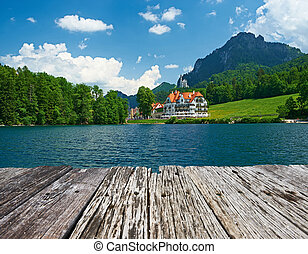 Alpsee lake at Hohenschwangau near Munich in Bavaria,...