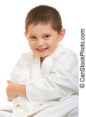 Funny karate kid arms folded