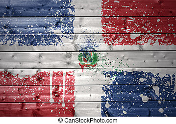 painted dominican republic flag on a wooden texture -...