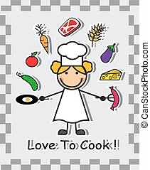 cook and different food - Cartoon chef and various food...