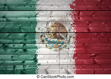 painted mexican flag on a wooden texture - colorful painted...