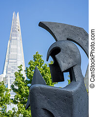 Warrior sculpture in front of the Shard in London