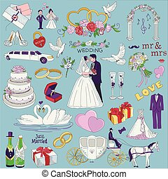 Hand drawn collection of decorative wedding design elements....