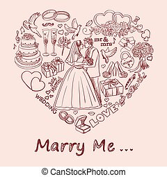 Heart drawn on sand with marry me text