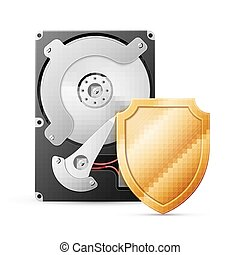 opened hard drive disk with shield on white ackground