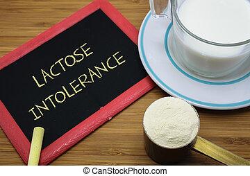 lactosa, intolerance, concepto,