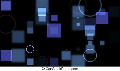 Blue digital screen with circles and squares