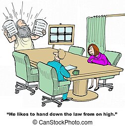 Giving Directives - Business cartoon of Moses giving...