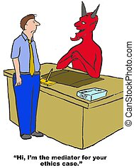 Mediator is the Devil - Business cartoon of devil and...