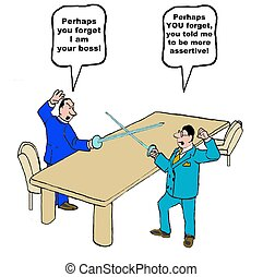 Assertive - Business cartoon of businessman and boss...