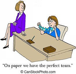 Perfect Team - Business cartoon of two businesswomen and...