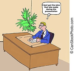 Delayed Response - Business cartoon of businessman in his...