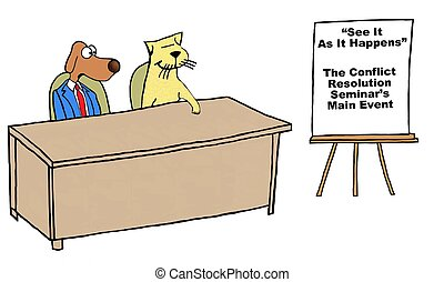 Conflict Resolution - Business cartoon of business cat and...