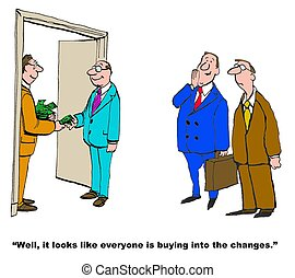 Change Management - Business cartoon of manager handing...