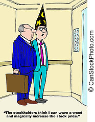 Stock Price - Business cartoon of businessmen, one is...