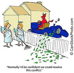Conflict with Devil - Business cartoon about conflict, the...