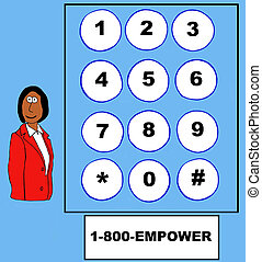Empower - Business cartoon about empowerment, 1-800-EMPOWER