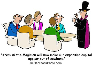 Expansion Capital - Business cartoon of meeting, magician...