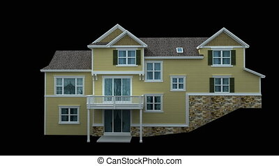 3d House spinning - 3d model of residential house isolated...
