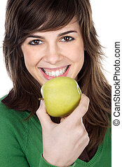 girl eating a apple