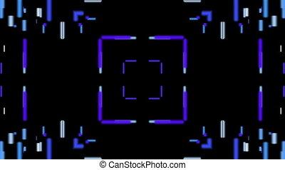 Horizontal blue lines kaleidoscope on the black background
