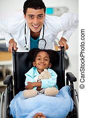 jovem, doutor, doente, criança