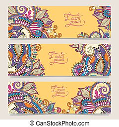 Set of three yellow horizontal banners with decorative...