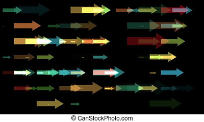 Movement of the multicolored arrows on black background