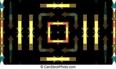 Multicolored arrows kaleidoscope on black background