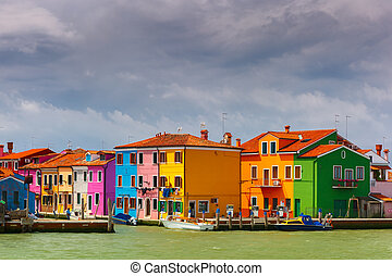Colorful houses on the Burano, Venice, Italy - Colorful...