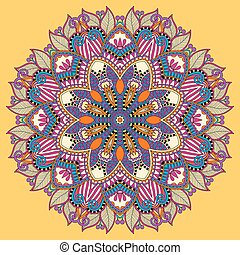 mandala, yellow circle decorative spiritual indian symbol of...