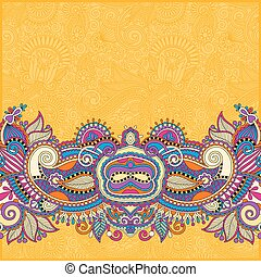 yellow paisley design on decorative floral background for...