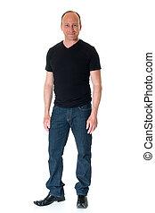 Casual Man - Casual adult man in black shirt Studio shot...