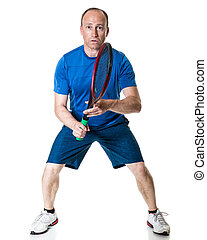 Tennis Action - Tennis action shot Studio shot over white