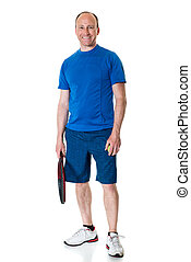 Tennis Player - Adult male tennis player Studio shot over...
