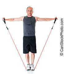 Lateral Raise - Lateral raise exercise with resistance band...